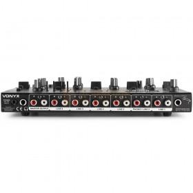 Vonyx STM2290 - 8-Kanaals Mixer Geluidseffecten USB/MP3/BT achterkant aansluitingen