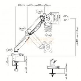 Audizio MAD10G - universele gasveer monitor arm voor 17 - 32 inch schermen graden tekening
