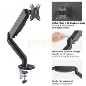 Audizio MAD10G - universele gasveer monitor arm voor 17 - 32 inch schermen met uitleg ernaast