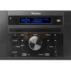 Audizio Prato - All-in-One Muziek systeem CD/DAB+ Zwart Voorkant volume knop