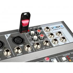 usb speler en record aansluitingen Vonyx VMM-F701 7-kanaal Muziek Mixer met MP3