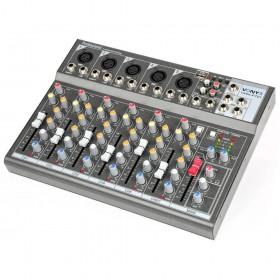 schuin aanzicht Vonyx VMM-F701 7-kanaal Muziek Mixer met MP3