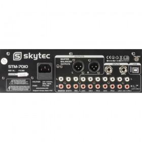 achterkant aansluitingen SkyTec STM-7010 Mixer - 4-Kanaals DJ Mixer met USB