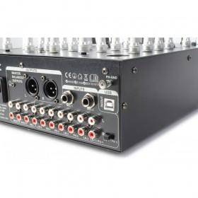 aansluitingen rca en microfoon jack SkyTec STM-7010 Mixer - 4-Kanaals DJ Mixer met USB