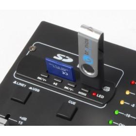 Vonyx STM2250 4 Kanaals Mixer Geluidseffecten USB MP3 - usb en sd ingang