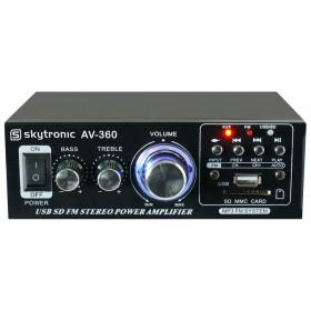 Skytronic AV-360 Versterker met FM radio en USB / SD speler - voorkant