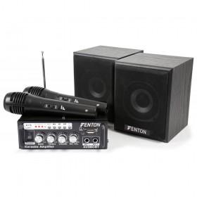 Fenton AV380BT Karaoke versterker, speakers, USB SD BT en microfoons en mixer