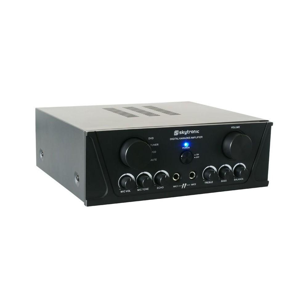 Skytronic Universele stereo karaoke versterker Zwart - Voorkant en bediening