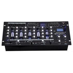 schuin voorkant BST ACTIV218 - 6-kanaalen mixer + USB, SD en Bluetooth speler en recorder