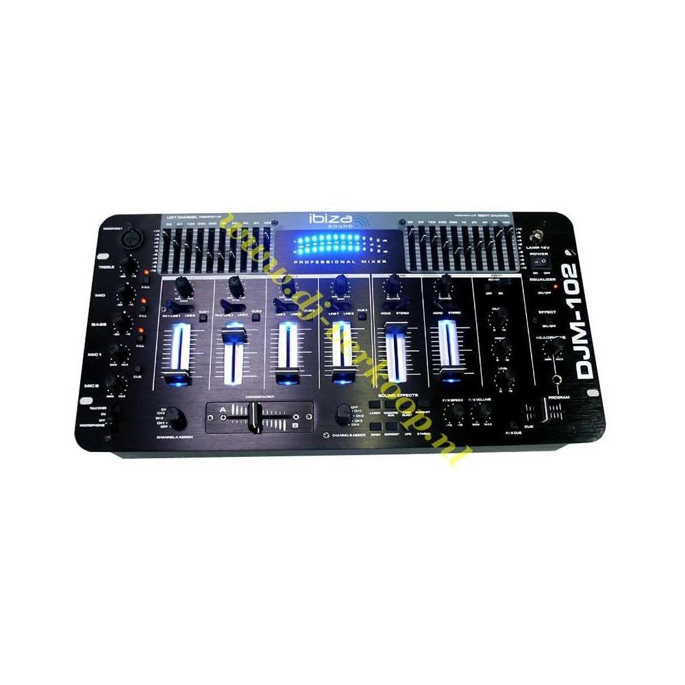 IBIZA Sound - DJM102 6-kanaals Mixer met EQ. en Effecten
