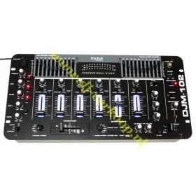 overzicht IBIZA Sound DJM102 6-kanaals Mixer met EQ. en Effecten