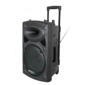 voorkant speaker met trolley - Ibiza Sound PORT10VHF-BT Mobiel Pa systeem met Bluetooth en USB Speler + hoes (Actie)