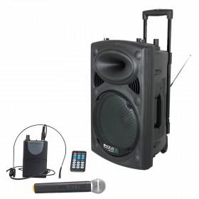 "IBIZA Sound PORT12VHF-BT 12"" Mobiel Pa systeem met USB en Bluetooth + hoes met headset en handmicrofoon"