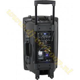 """IBIZA Sound PORT12VHF-BT 12"""" Mobiel Pa systeem met USB en Bluetooth + hoes achterzijde aansluitingen"""