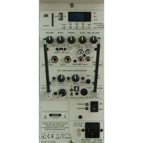 """IBIZA Sound PORT15VHF-BT-WH 15"""" Mobiel Pa systeem met Bluetooth en USB Speler - aansluitingen achterkant."""
