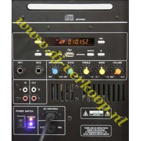 aansluitingen bediening Ibiza Sound Port8Mini - Mobiele PA met cd/usb/mp3 speler
