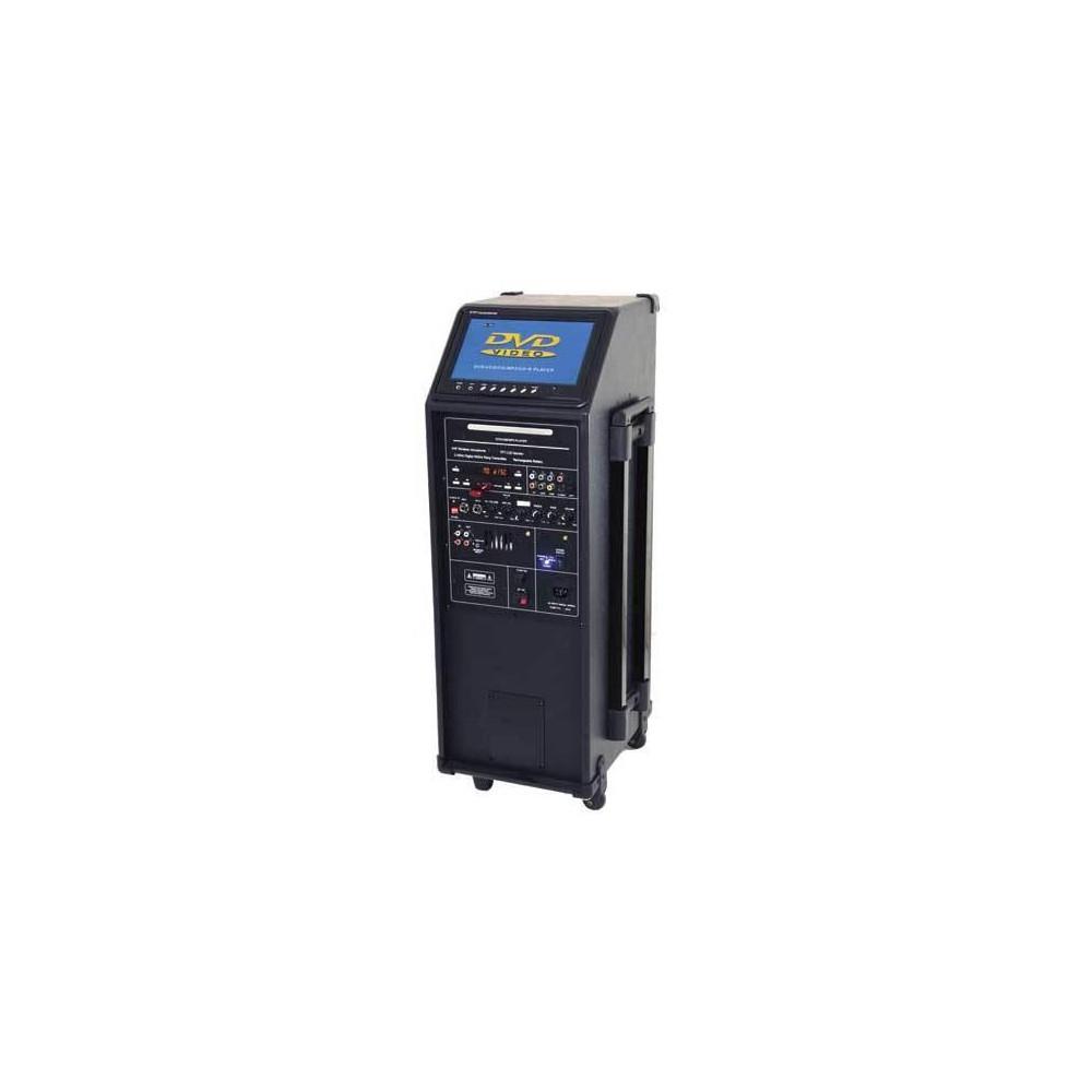 IBIZA Sound PORT9DVD-VHF mobiele muziek installatie met o.a. dvd en TV Scherm