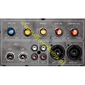 """IBIZA Sound SUB18A Actieve 18"""" Subwoofer 1200 Watt max - aansluitingen en bediening paneel"""