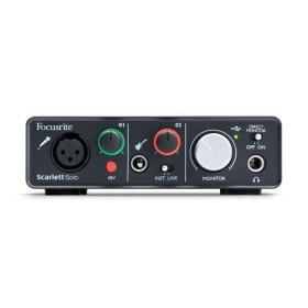 Focusrite Scarlett Solo - Compacte 24-bit/96 kHz USB-geluidskaart - voorkant aansluitingen