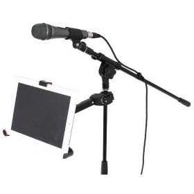 """IBIZA SOUND ISTAND2 - Houder voor iPad & Tablet PC's van 8.9"""" tot 10.4"""" op een microfoon standaard"""