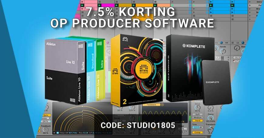 7,5% korting op producer software van Ableton, Komplete en Bitwig