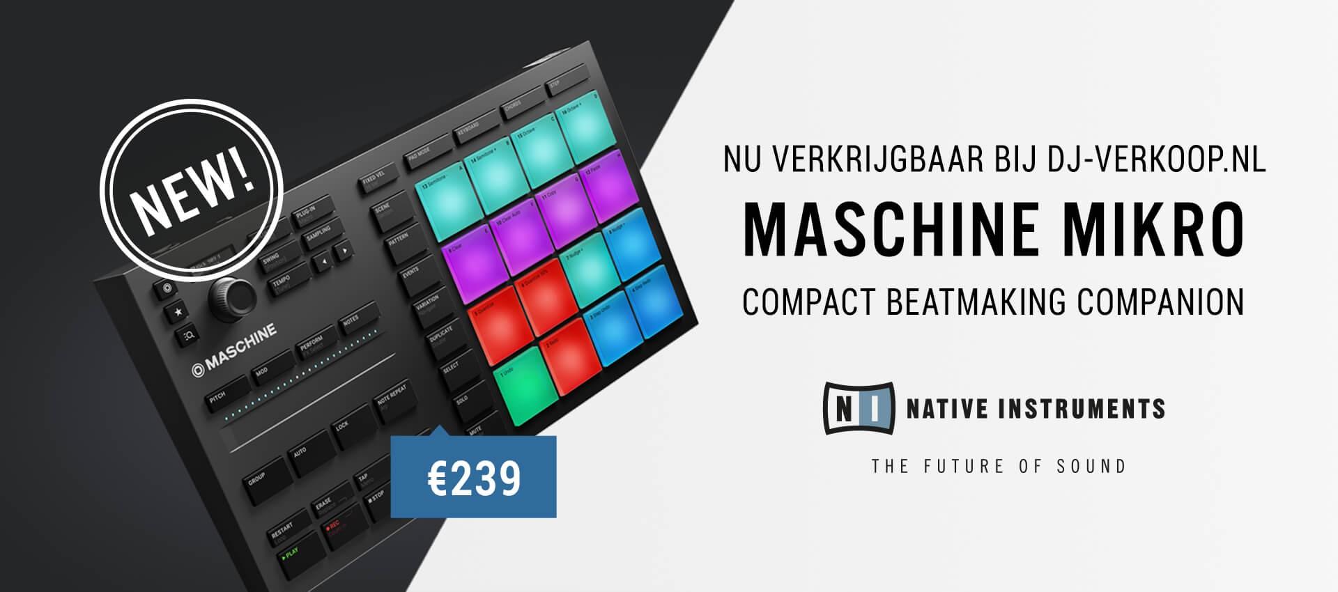 nu verkrijgbaar bij DJ-Verkoop.nl de Native Instruments Maschine Mikro MK3 controller